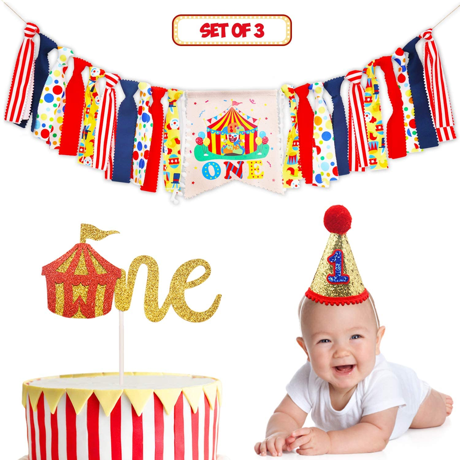 Circus Carnival Theme 1st Birthday Decorations Kit -One Burlap High Chair Banner- Cake Smash Greatest Showman Themed Party Supplies- Glitter Red Felt 1st Birthday Big Top Hat- Circus Tent Cake Topper