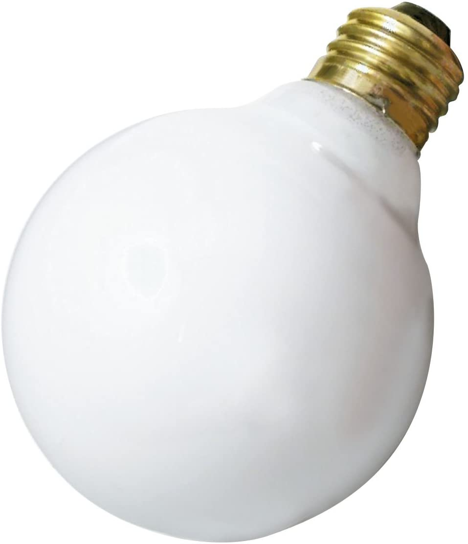 Satco 40G30/W Incandescent Globe Light, 40W E26 G30, Gloss White Bulb [Pack of 6]