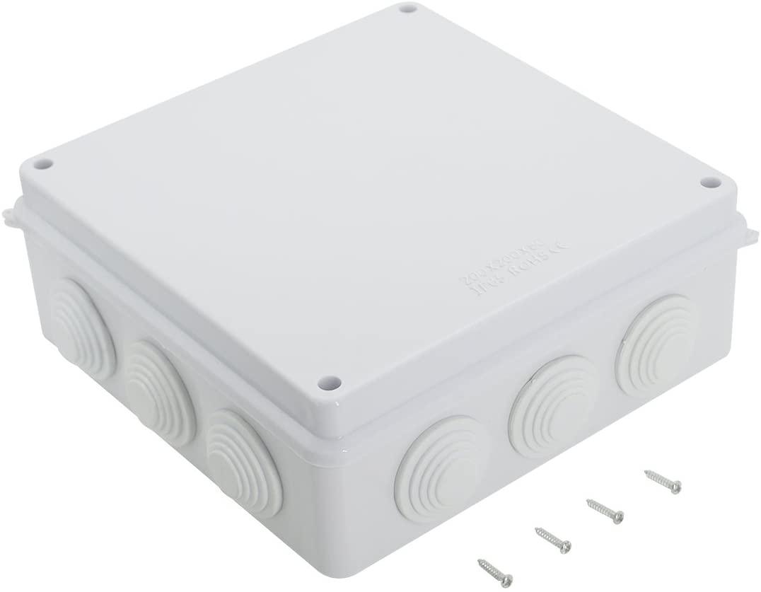 LeMotech ABS Plastic Dustproof Waterproof IP65 Junction Box Universal Electrical Project Enclosure White 7.9 x 7.9 x 3.1 inch (200 x 200 x 80 mm)