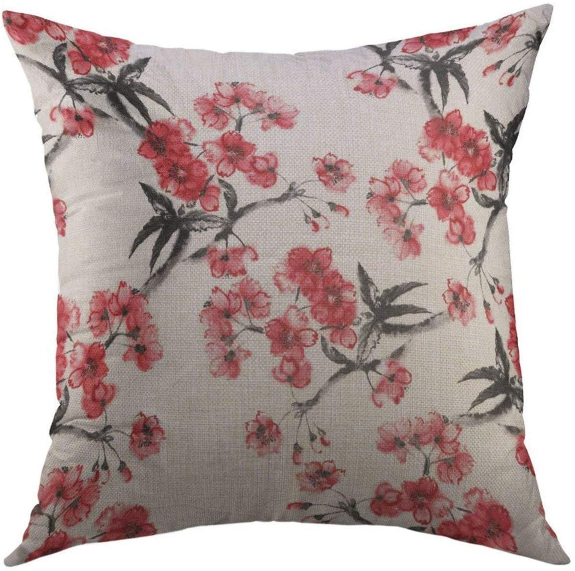 Mugod Decorative Throw Pillow Cover for Couch Sofa,Floral Cherry Blossom Oriental Ink Painting Sumi E Style Branches of Sakura Pattern Asian Flower Home Decor Pillow case 18x18 Inch