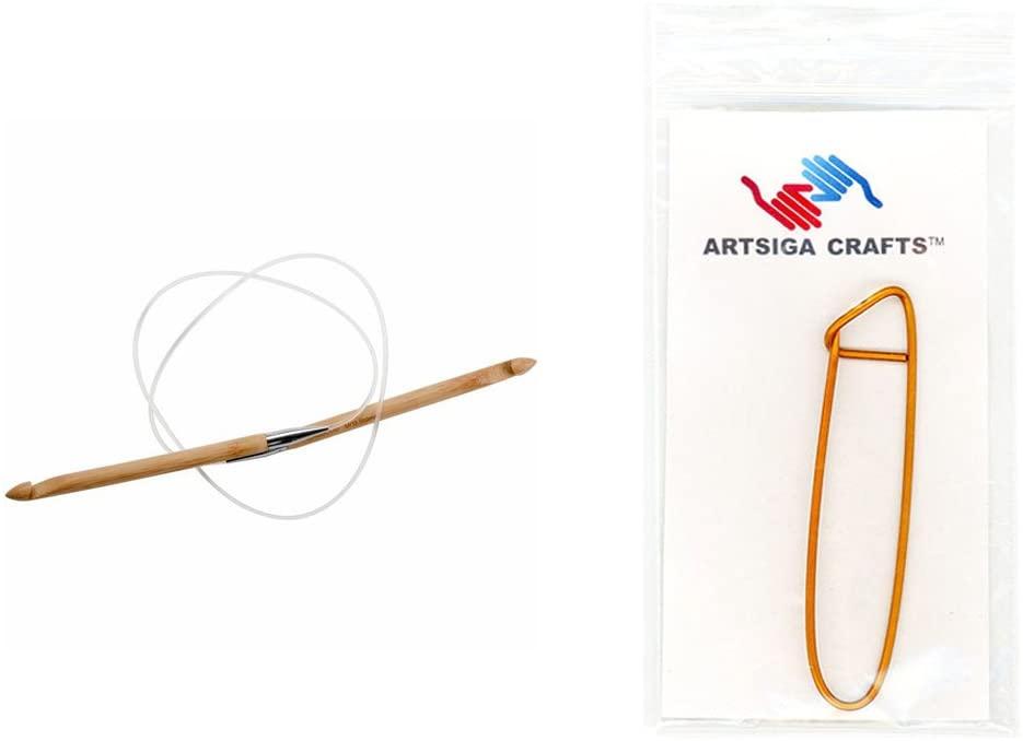 ChiaoGoo Knitting Needles Circular Crochet Hook 40 inch (102cm) Bamboo Dark Patina Size US J (6mm) Bundle with 1 Artsiga Crafts Stitch Holder 5040-J