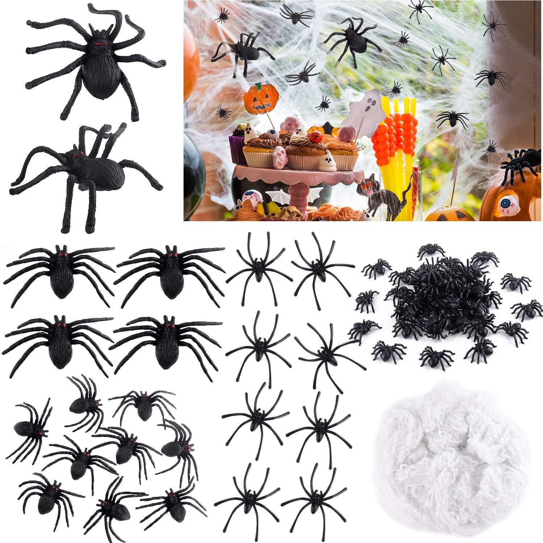TUPARKA 215Pcs Halloween Spider Decorations Set,Including 2Pack Spider Webs 5Pcs Oversized Spiders 10Pcs Large Spiders 100Pcs Medium Spiders 100Pcs Small Mini Spiders for Halloween Party Decorations