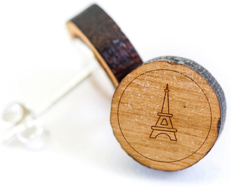 WOODEN ACCESSORIES COMPANY Wooden Stud Earrings With Eiffel Tower Laser Engraved Design - Premium American Cherry Wood Hiker Earrings - 1 cm Diameter
