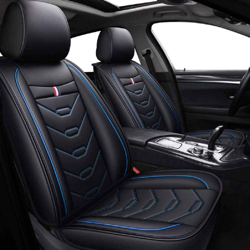 RED-SHYN Leather Car Seat Cover Five-seat Car Four Seasons Universal Fit (Black-Blue)