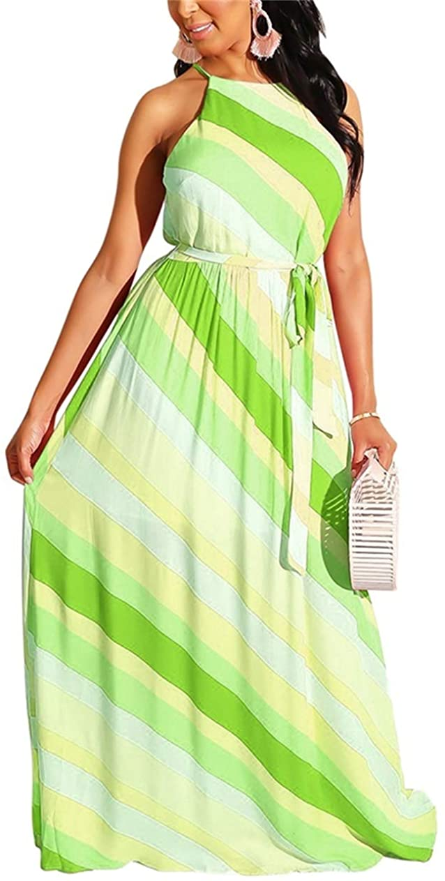 ksotutm Casual Summer Dresses for Women Off Shoulder Strapless Stripe Maxi Long Dress High Waist with Belt