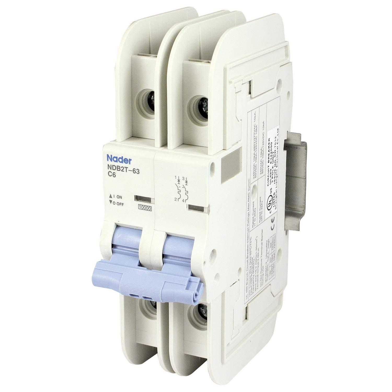 ASI NDB2T-63C6-2L DIN Rail Mount Circuit Breaker, UL489 Branch Circuit Protection, 2 Pole, 6 amp, 240/480V, General Purpose Trip Curve C