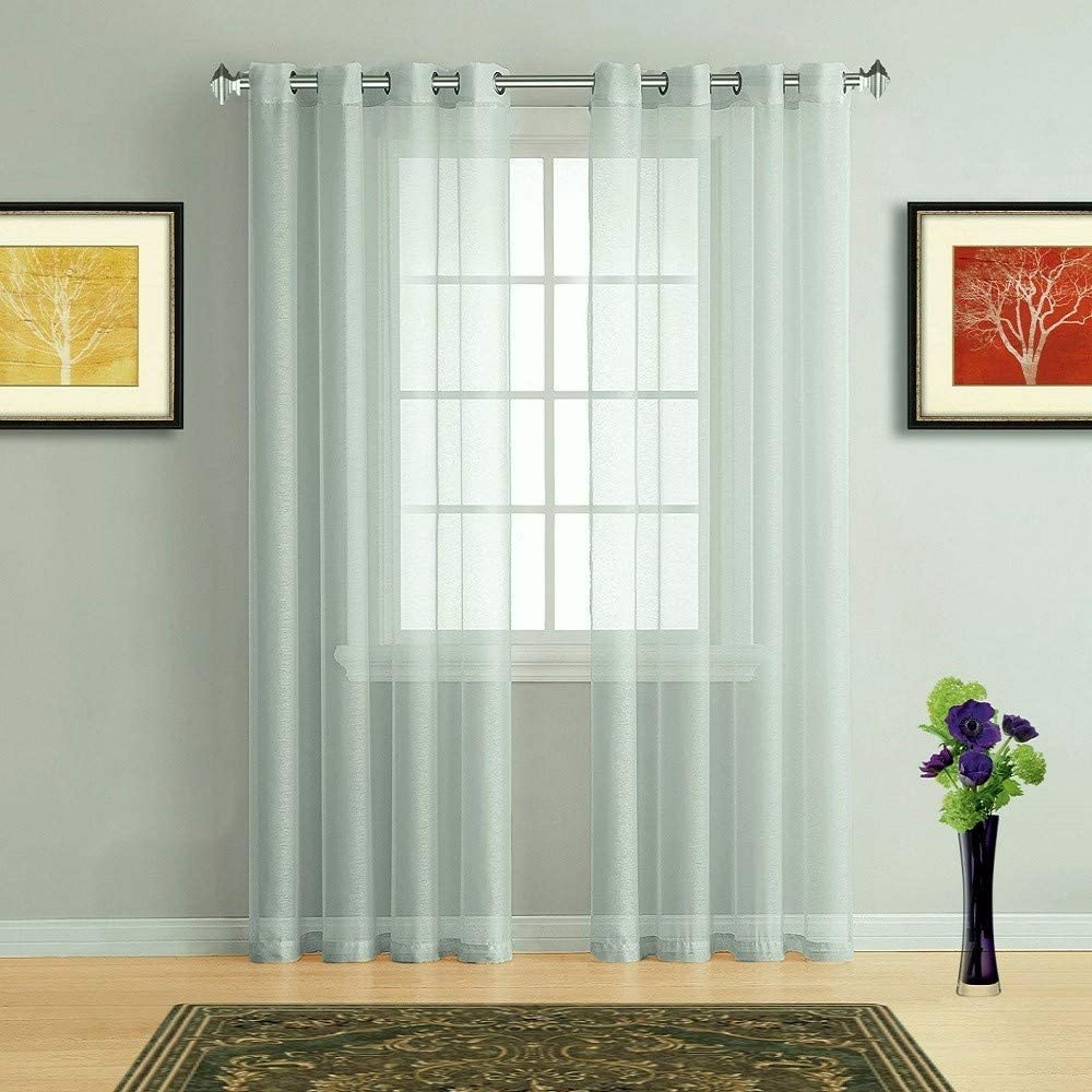 Warm Home Designs Pair of 2 Longer Size 54 (Width) x 96 (Length) Light Neon Silver Grey Sheer Window Curtains. 2 Elegant Voile Panel Drapes are 108 Inch Wide Total - K Neon Silver 96