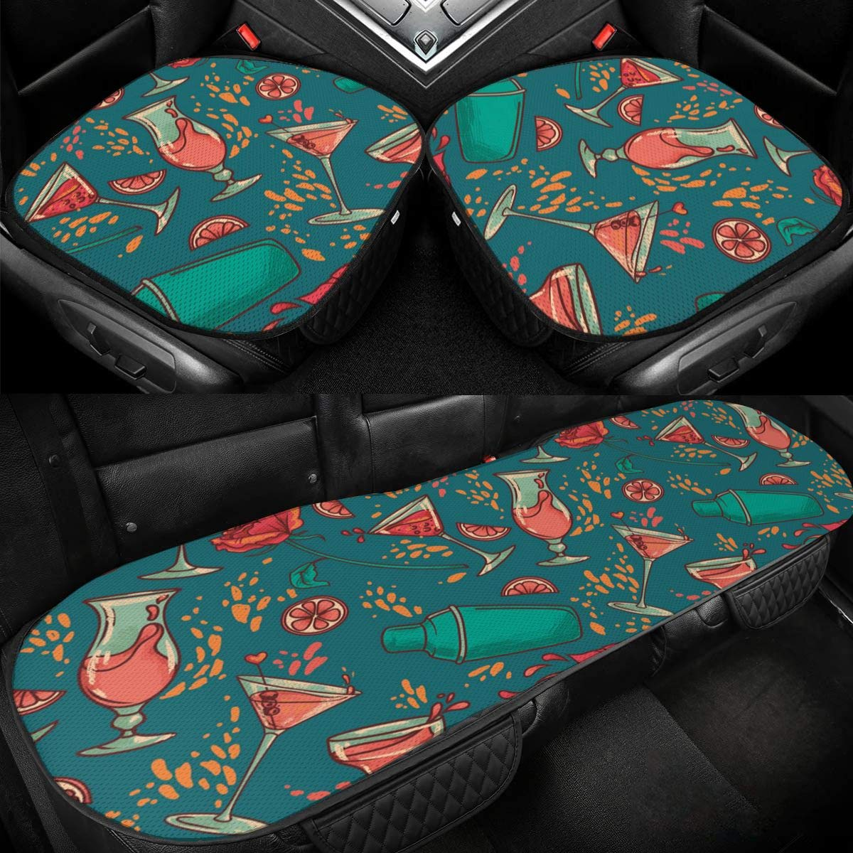 Juice Cup Car Ice Silk Seat Cushion Pad 3 Pieces Sets Comfort Seat Protector for Car Driver Seat Office Chair Home Use Seat Cushion