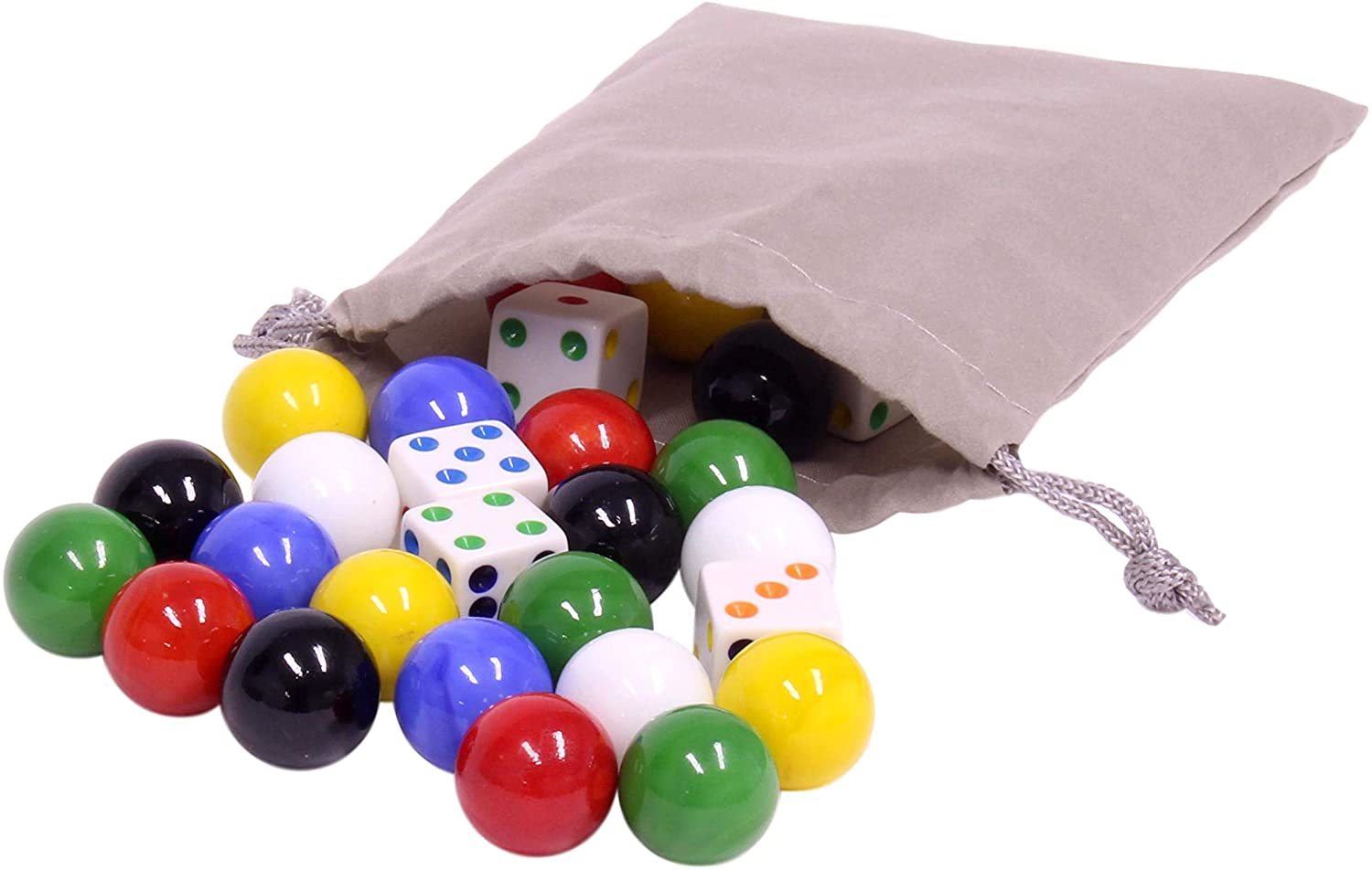 Game Bag of 24 Large Glass Marbles (18mm Diameter) and 6 Dice for Aggravation Game