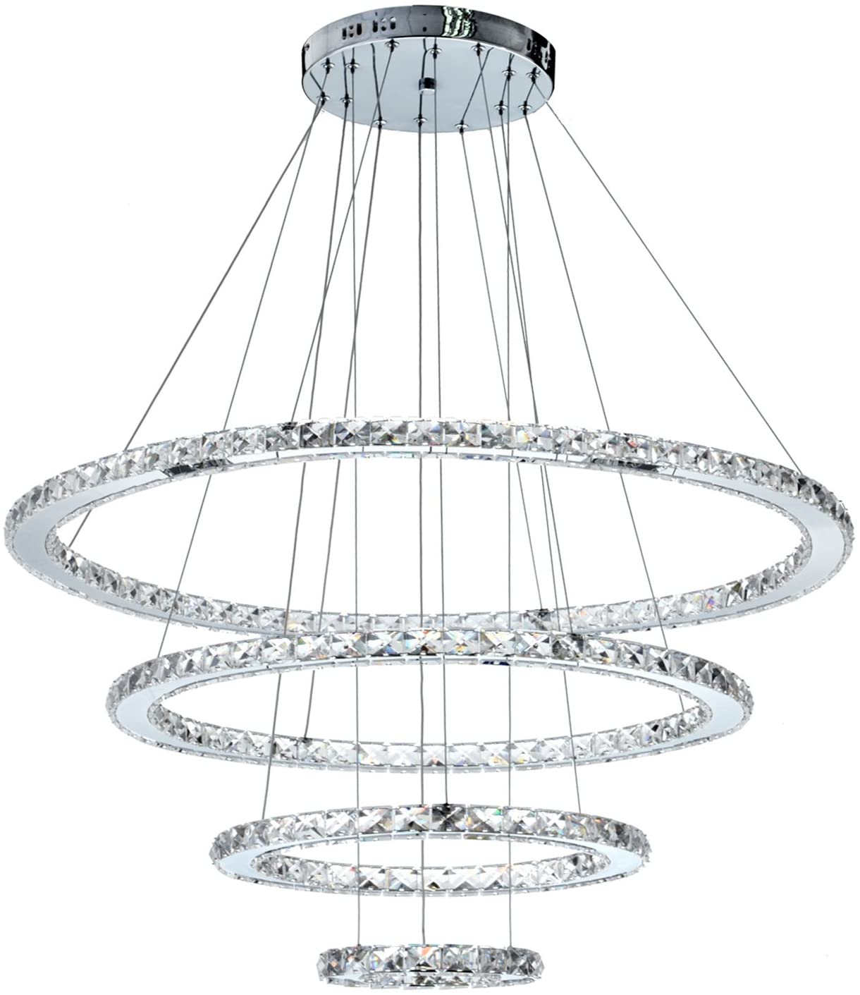 MEEROSEE Crystal Chandeliers Modern LED Ceiling Lights Fixtures Pendant Lighting Dining Room Chandelier Contemporary Adjustable Stainless Steel Cable 4 Rings DIY Design D31.5