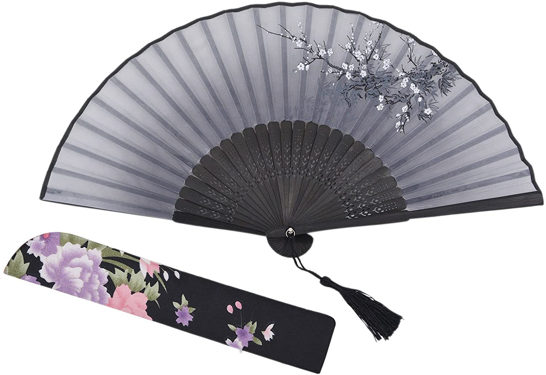 Amajiji Women Hand Held Silk Folding Fans with Bamboo Frame (Black)