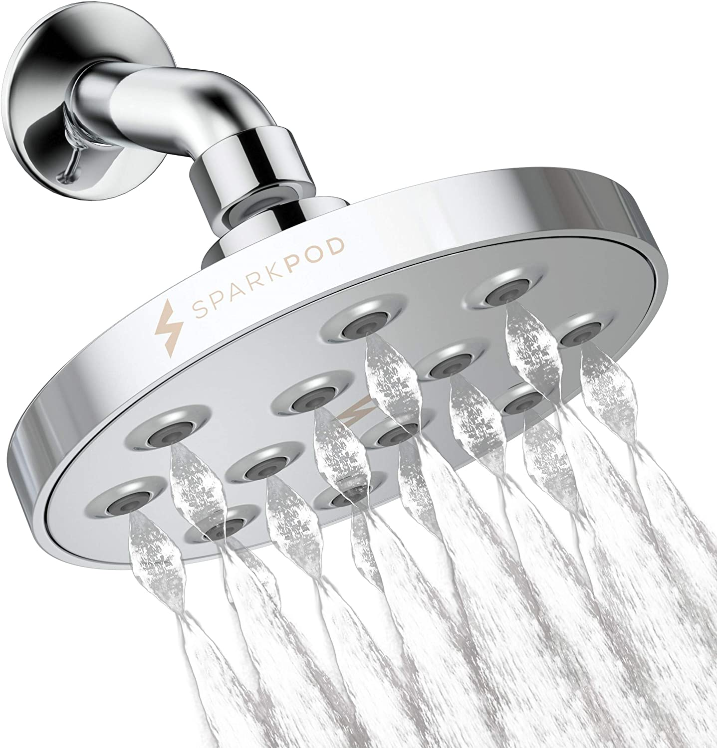 SparkPod Power Rain Shower Head - Luxury Modern Chrome Look - Rainfall Shower Head - Easy Tool Free Installation - The Perfect Adjustable High Pressure Shower Heads