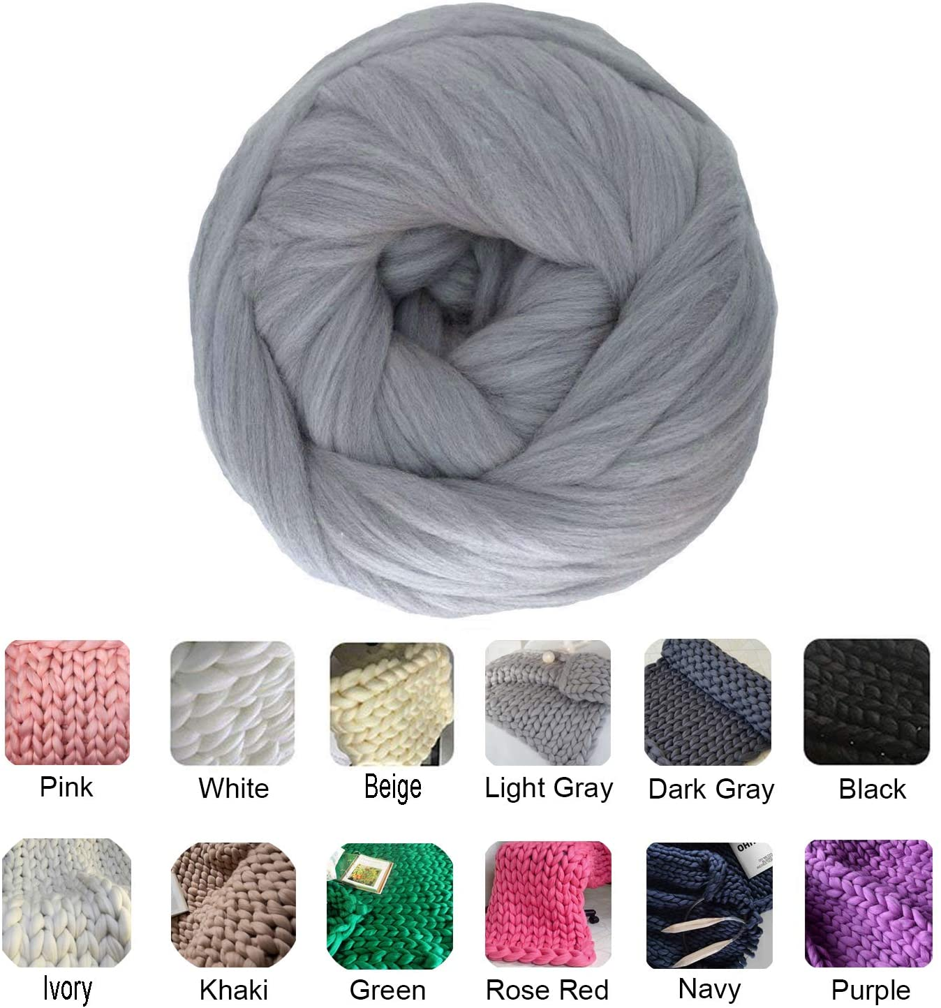 clootess Chunky Merino Wool Yarn Bulky Big Roving for DIY Hand Made Knit Blanket Throw - Light Grey 5 lbs