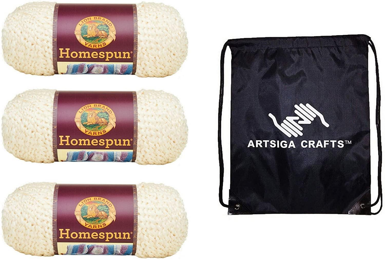 Lion Brand Knitting Yarn Homespun Deco 3-Skein Factory Pack (Same Dye Lot) 790-309 Bundle with 1 Artsiga Crafts Project Bag