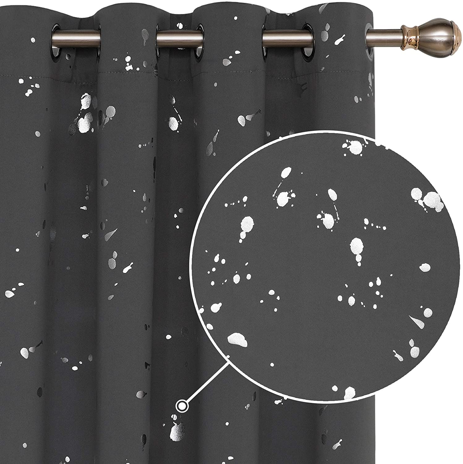 Deconovo Silver Dots Printed Thermal Insulated Blackout Curtains Window Curtains Light Blocking Curtains for Kids Room 52 W x 84 L Dark Gray 2 Panels