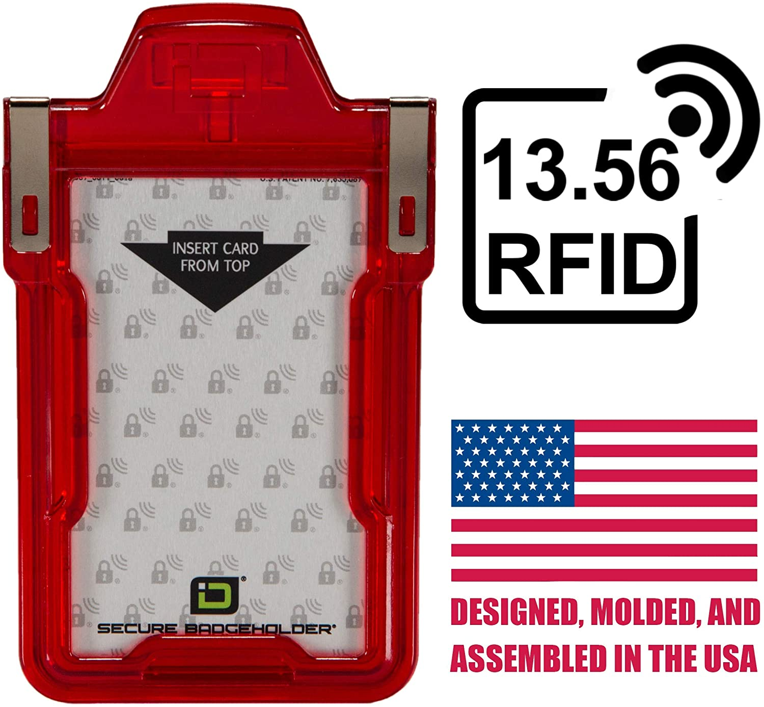 Identity Stronghold - Secure RFID Badge Holder for 1 Card - Heavy Duty Hard Plastic ID Badge Holder - FIPS 201 Approved RFID Blocking Security - Molded and Assembled in The USA - Red