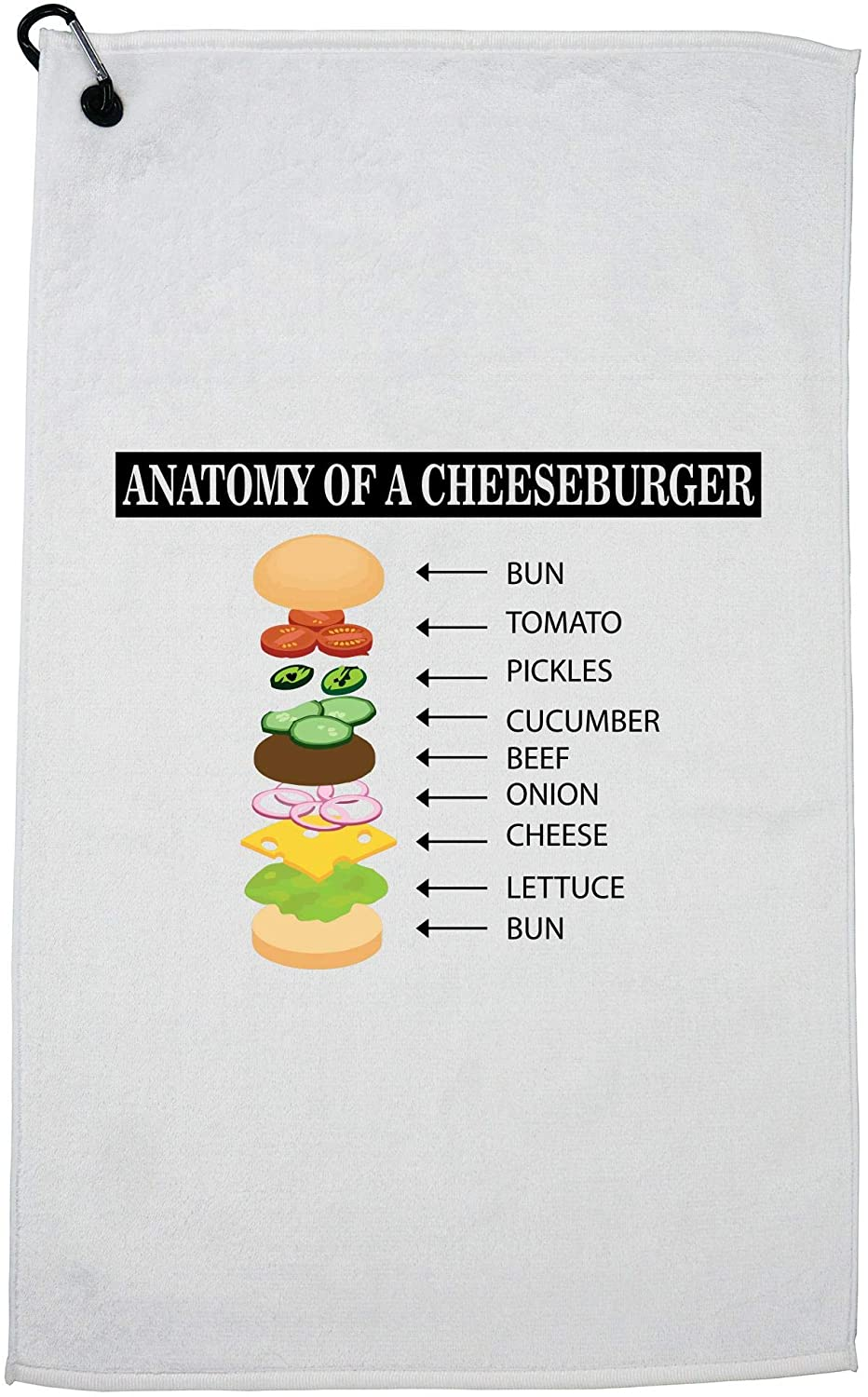 Hollywood Thread Anatomy of The Cheeseburger Cool Graphic Golf Towel with Carabiner Clip