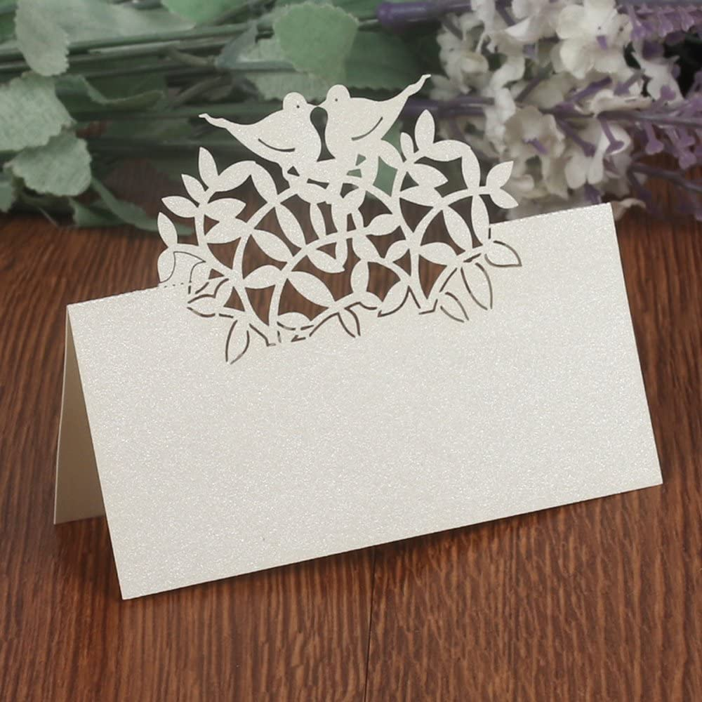 50PCS Wedding Guest Name Place Cards Party Table Name Place Cards Paper Table Numbers Place Card Escort Name Card Laser Cut Design for Wedding Party Decoration Favor (Silver-Birds)