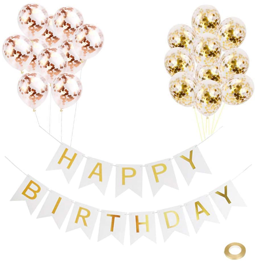 """Huture Happy Birthday White Banner with Shiny Letters/10PCS Rose Gold/ 10PCS Gold/12"""" Sequin Latex Confetti Dot Balloon w/Ribbon Versatile Theme Kit for Kids Baby Shower Birth Party Decor Chic Supply"""