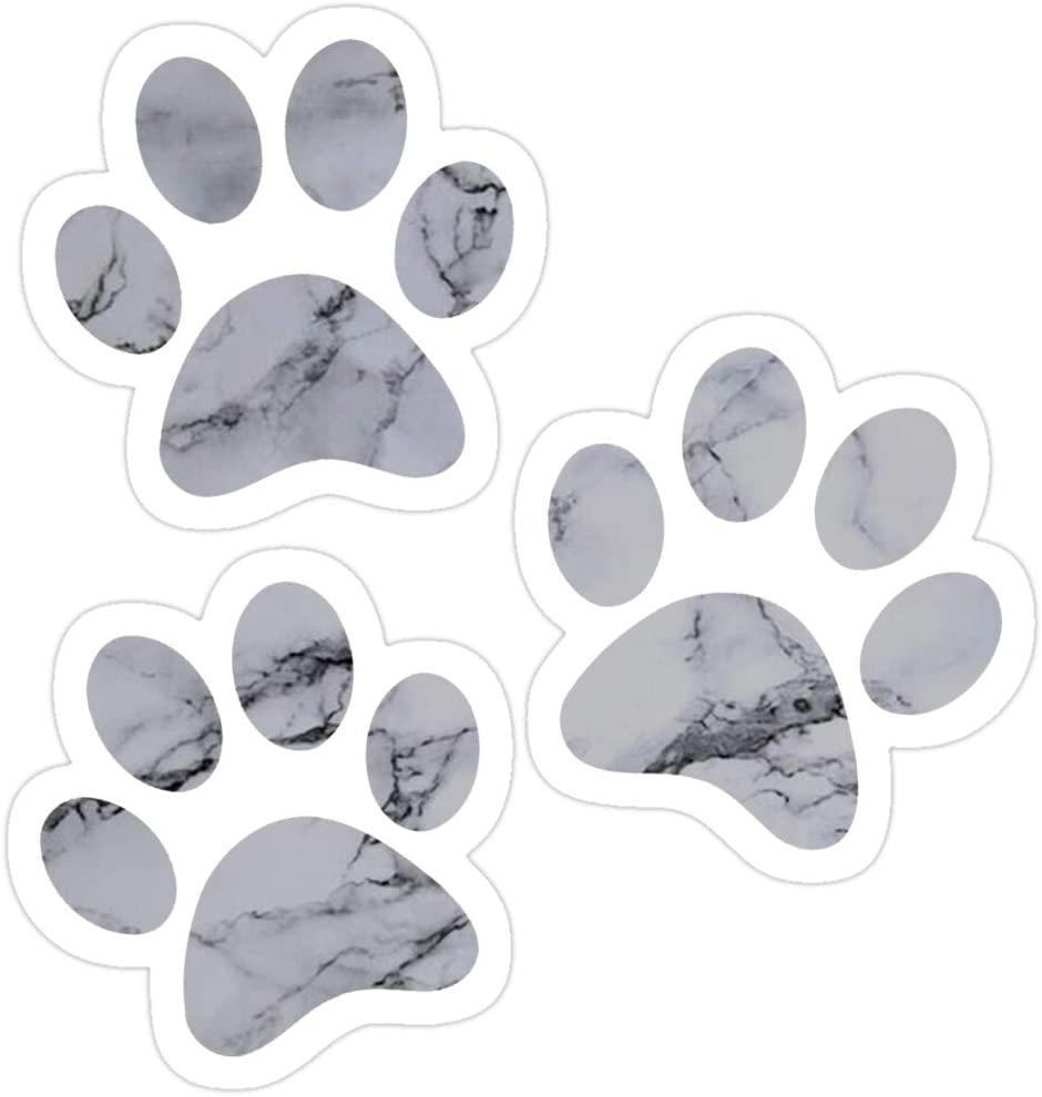 Vijk kor Black and White Marble Pawprints Stickers (3 Pcs/Pack)