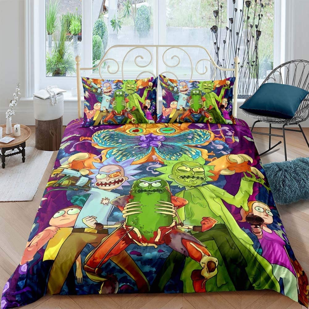 BGHN Twin Size 3 Piece Bedding Set for Kids 3D Printed Anime Cartoon Rick and Morty Duvet Cover Sets, 1 Duvet Cover 2 Pillowcases