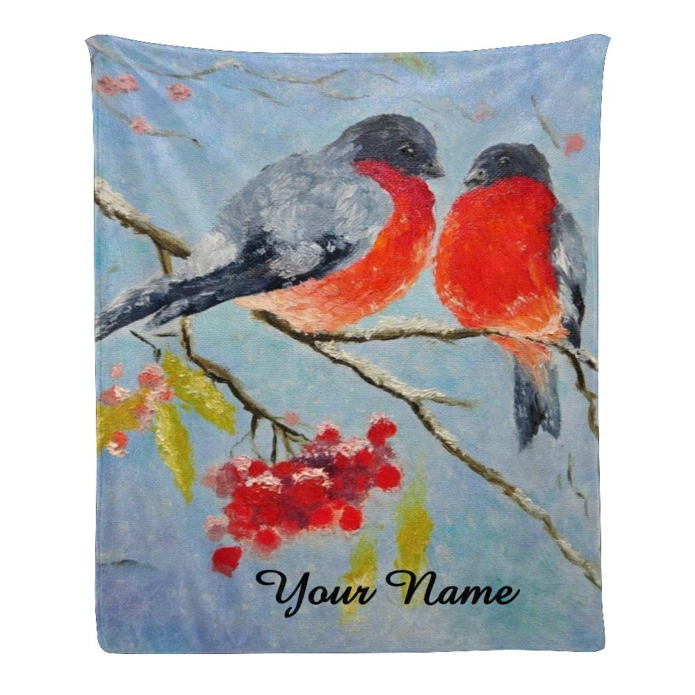 Personalized Kids Fleece Blanket with Name Custom Bird on Tree Baby Throw Blanket for Bed (30 x 40 inches)