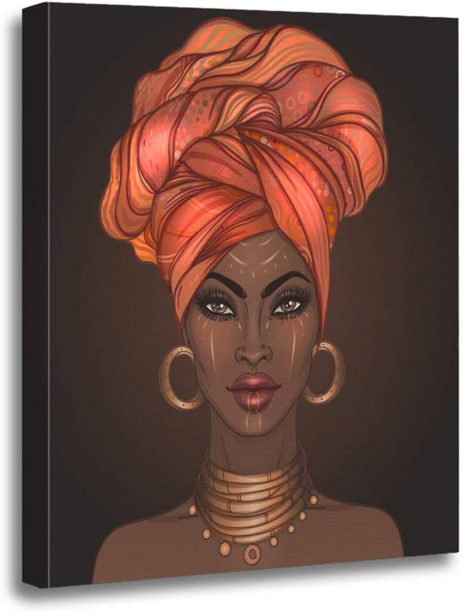 Ansouyi 16x20 Inches Canvas Wall Art Painting African American Pretty Girl of Black Woman Glossy Lips Home Decorative Artwork Prints