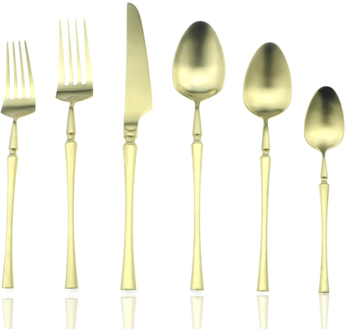 JASHII Luxury 24-Piece Flatware Silverware Set 18/10 Stainless Steel Cutlery Tableware Service for 4 Include Dinner Knife Fork Spoon Good Stuff Dishwasher Safe (Champagne Gold)