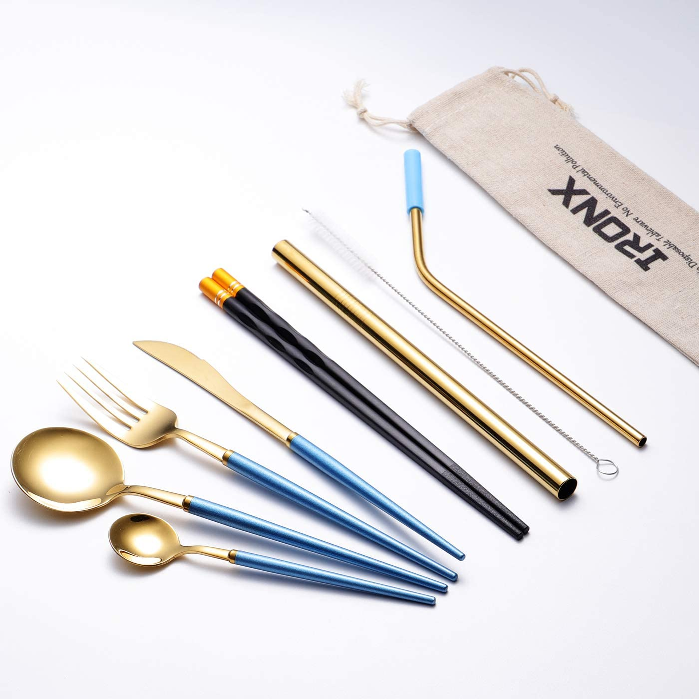 Travel Camping Cutlery Set, 18/10 Stainless Steel Utensil, Light Weight, Includes Knife/Fork/Spoon/Teaspoon/12mm Straw/6mm Straw/Tip/Chopsticks/Bag for Boys Men by IRONX(10p Travel Blue)