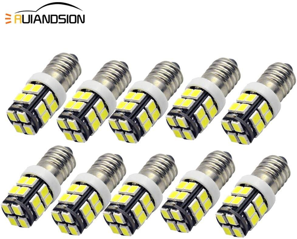 10pcs E10 LED Bulb 12V 6000K White 2835 20SMD LED Bulb for Torchlight Flashlight Torch Headlight,Negative Earth