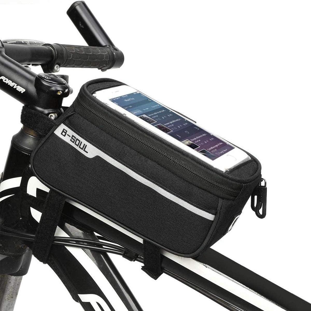 Ruiqas Bicycle Storage Bag, Bicycle Cycling Front Frame Tube Handlebar Bag Pouch Bicycle Mobile Phone Holder Storage Bag