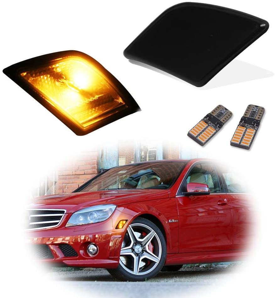 GTINTHEBOX Smoked Lens LED Front Side Marker Lamps with Pure Amber LED Lights for 2008-2011 Mercedes Benz W204 C250 C300 C350 & 2008-2013 C63 AMG,Replace OEM Sidemarker Lamps