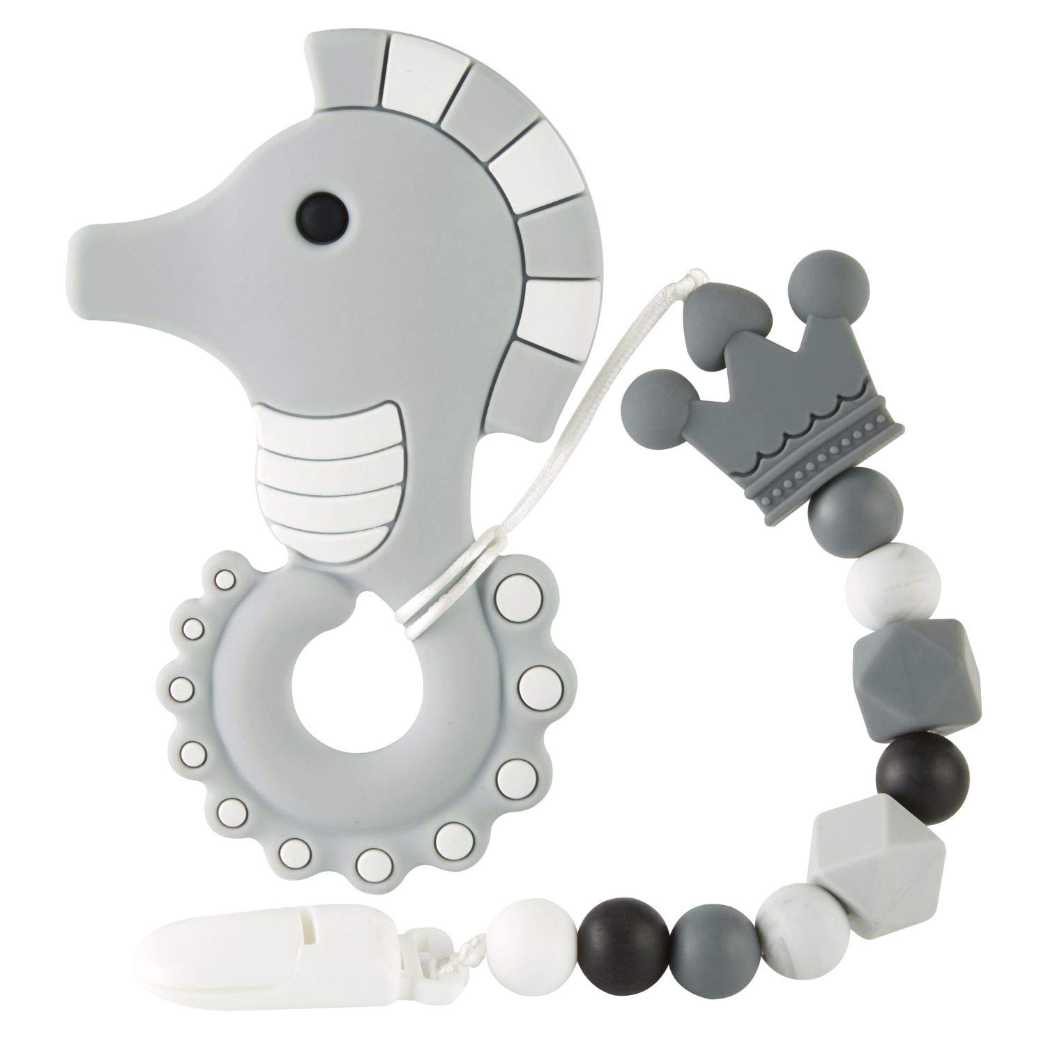 Baby Teething Toys, Silicone Cartoon Design Teether with Relief Beads Binky Holder and Pacifier Clips for Toddlers & Infant (Gray)