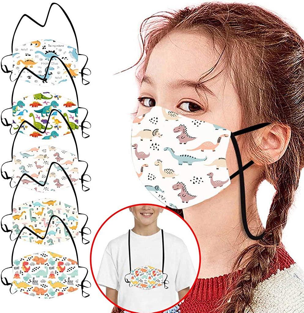 Weginte 5PCS Kids Reusable Washable Face Bandanas Children Breathable Mouth Outdoor Protective Activities Cotton Cartoon