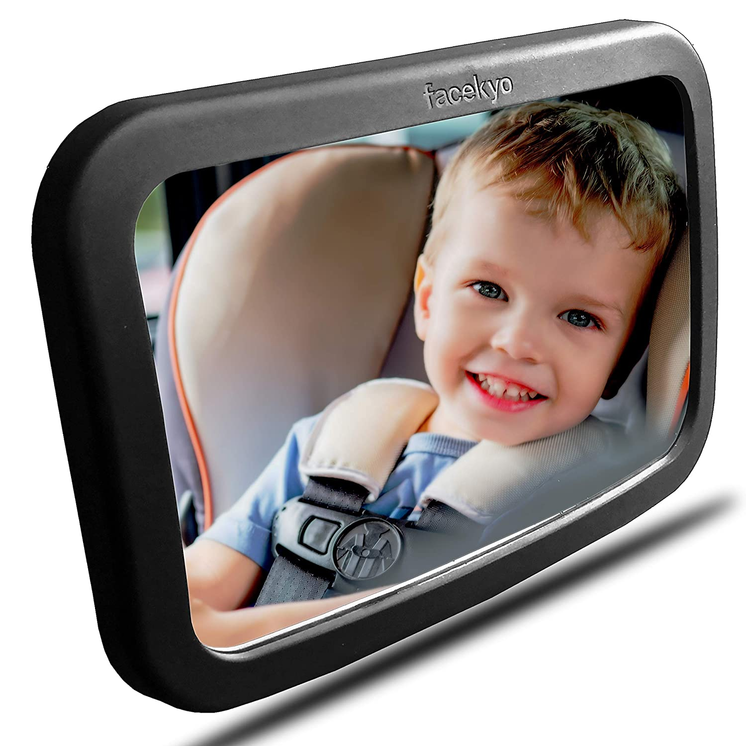 Baby Mirror for Car | Baby Car Mirror | Huge Wide-Angled Without Shaking | Rear Facing Baby View Mirror | Baby Back Seat Mirror | No Assembly Required | TPU Soft Frame by Facekyo (Black)