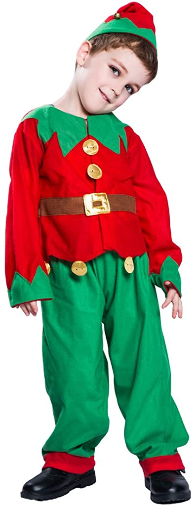 Scared Kids Boys Elf Costume for Children Christmas and Halloween Holidays Green