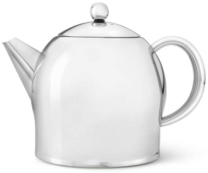 bredemeijer Santhee Double Walled Teapot, 1.4-Liter Stainless Steel Glossy Finish with Glossy Accents