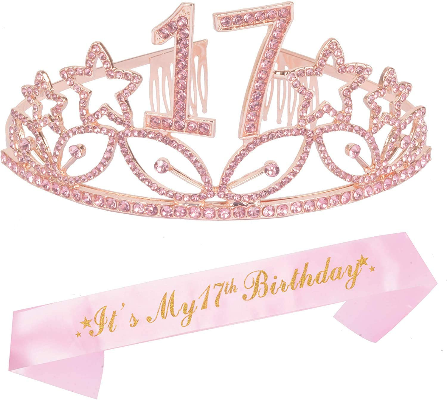17th Birthday Gifts for Girl, 17th Birthday Tiara and Sash, Happy 17th Birthday Party Supplies, Pink Satin Sash and Crystal Tiara Birthday Crown for 17th Birthday Party Supplies and Decorations