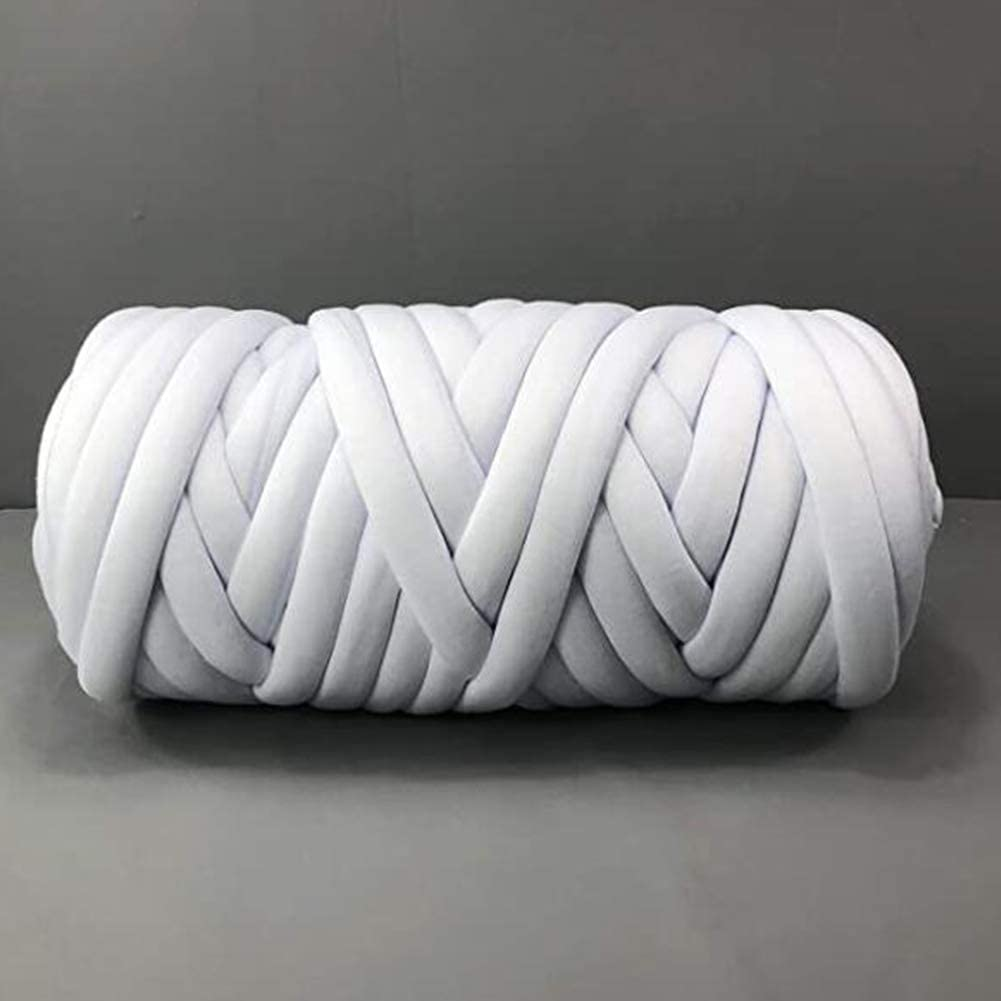 Braid Cotton Yarn Arm Knitting DIY Handmade Chunky Blanket Machine Washable (White-4.4 LB)