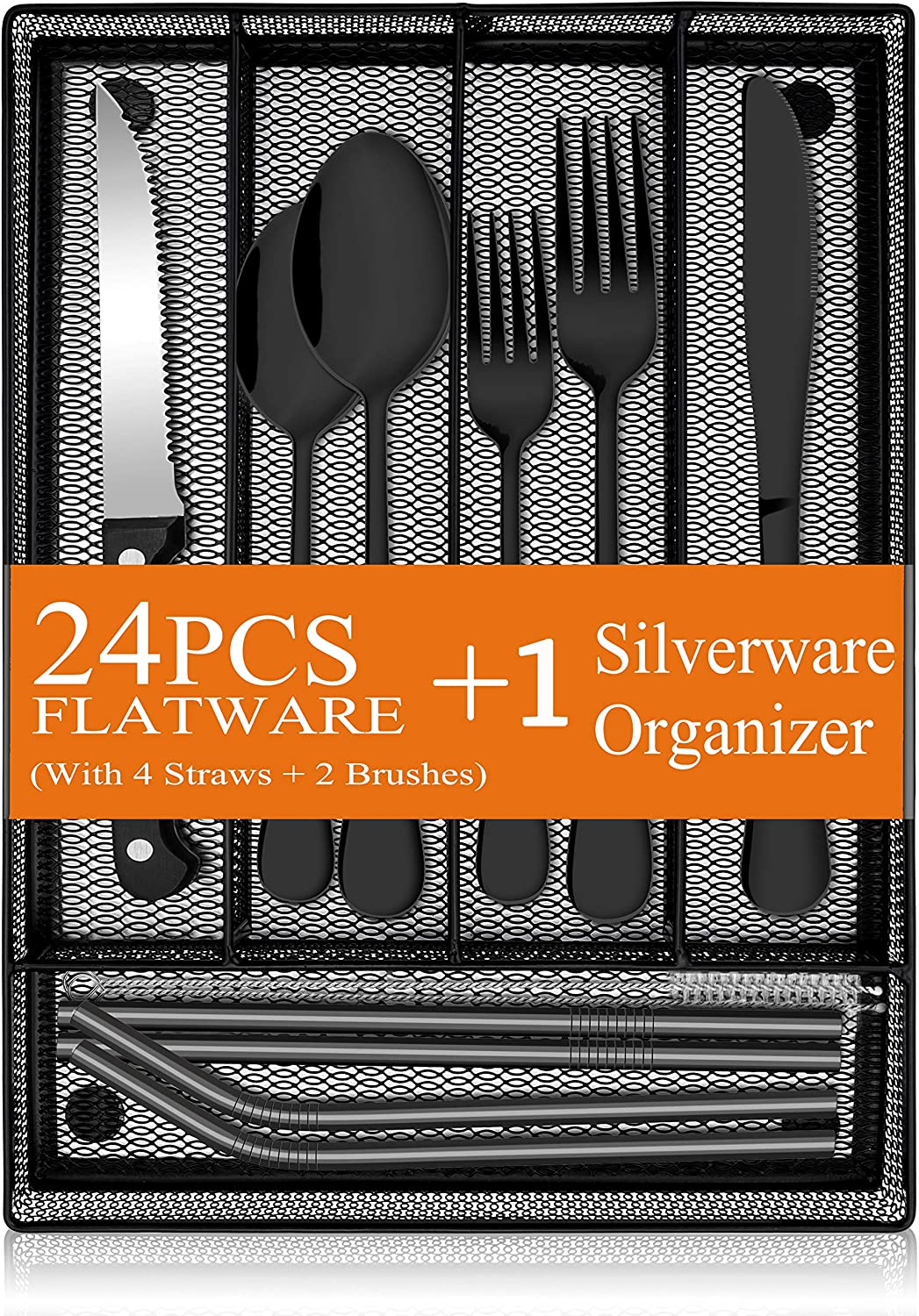 31-Piece Silverware Set, E-far Stainless Steel Flatware Cutlery Set Service for 4 with Utensil Organizer, Include Forks/Spoons/Knives/Steak Knives/Straws, Mirror Polish & Dishwasher Safe (Black)