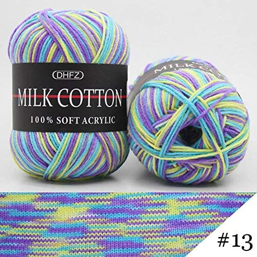 LY 50g/Ball Colorful Section-Dyeing Wool Yarn Baby Milk Cotton 100% Soft Acrylic Yarn for Hand Knitting Crochet FZ15 (13)