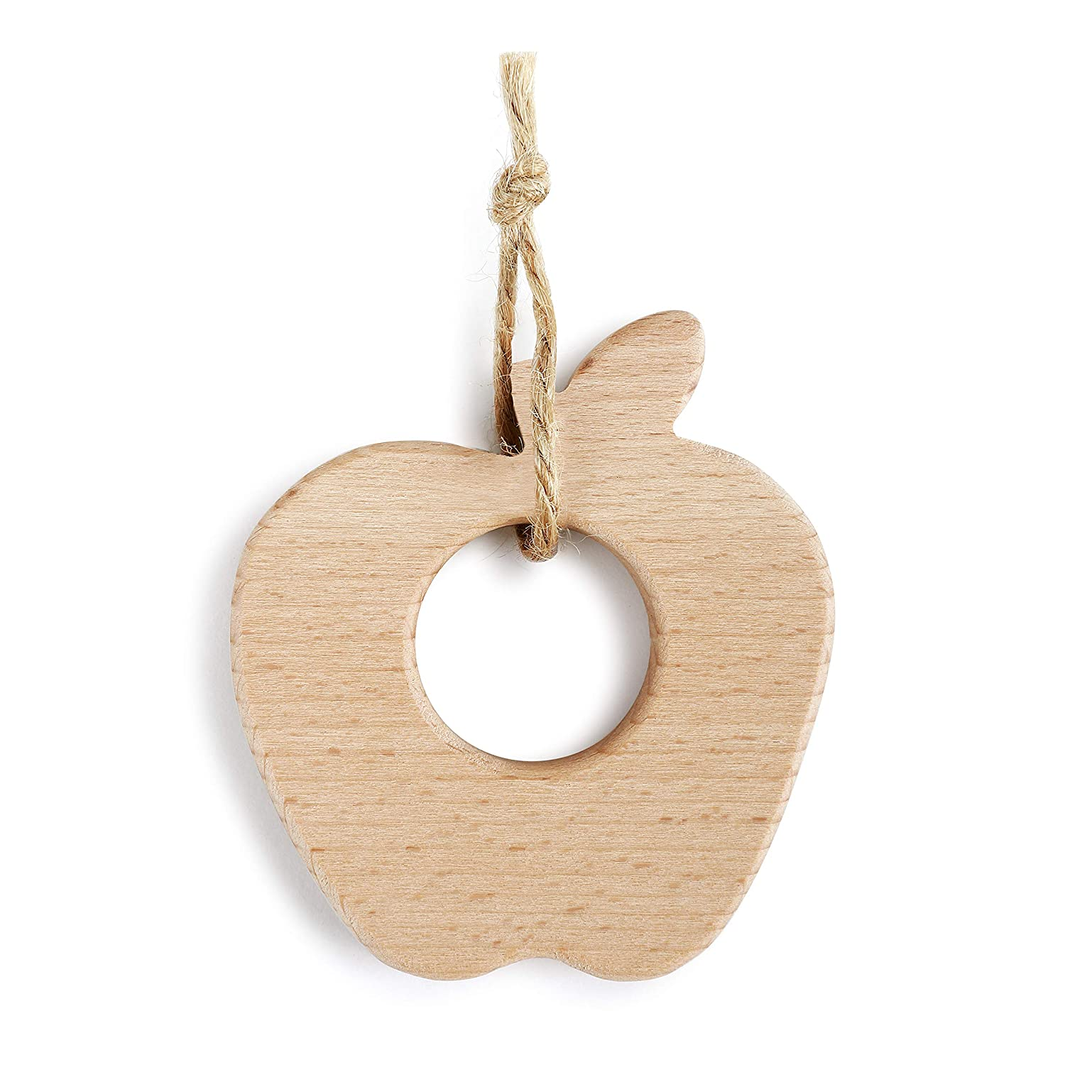 Apple of My Eye Natural Brown 3 x 3 Quality Wood Hanging Baby Teether Toy