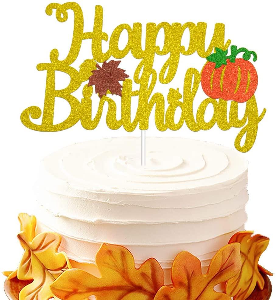 Pumpkin Birthday Cake Topper - Glitter Pumpkin Happy Birthday Cake Decoration - Fall Themed Kids Bday Party Supplie