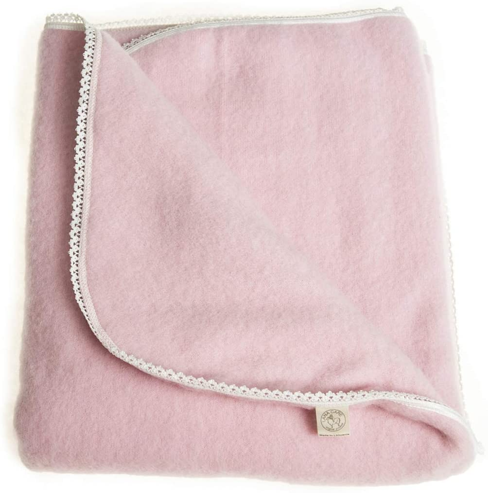 LANACare Organic Merino Wool Baby Blanket, Soft Pink with Lace Edge