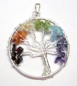 CRYSTALMIRACLE Beautiful Tree of Life Gemstone Pendant Wellness Positive Energy Fashion Jewelry Men Women Gift Wicca Healing Success Powerful Protective Accessory