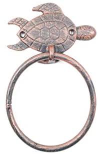Hampton Nautical Rustic Copper Cast Iron Sea Turtle Towel Holder 7