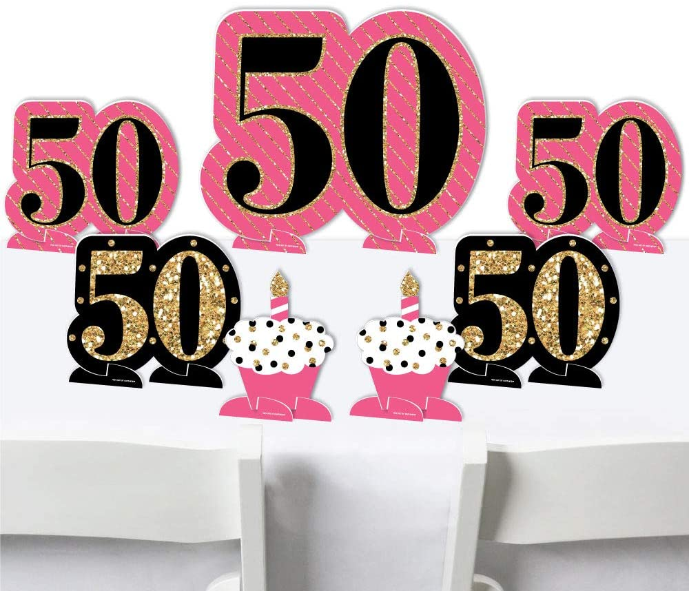 Big Dot of Happiness Chic 50th Birthday - Pink, Black and Gold - Birthday Party Centerpiece Table Decorations - Tabletop Standups - 7 Pieces