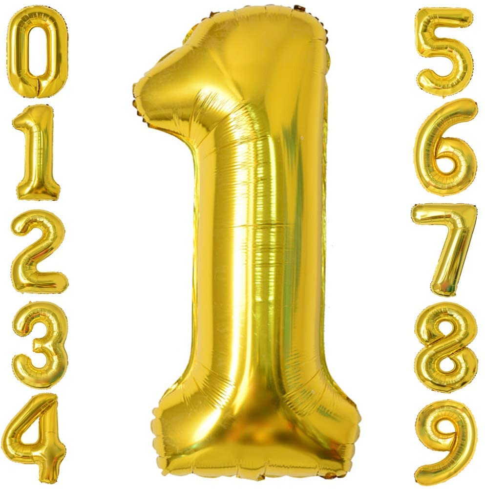Fvviia 40 Inch Gold Number Balloon Large Foil Helium Balloons Party Birthday Anniversary Shower Decorations