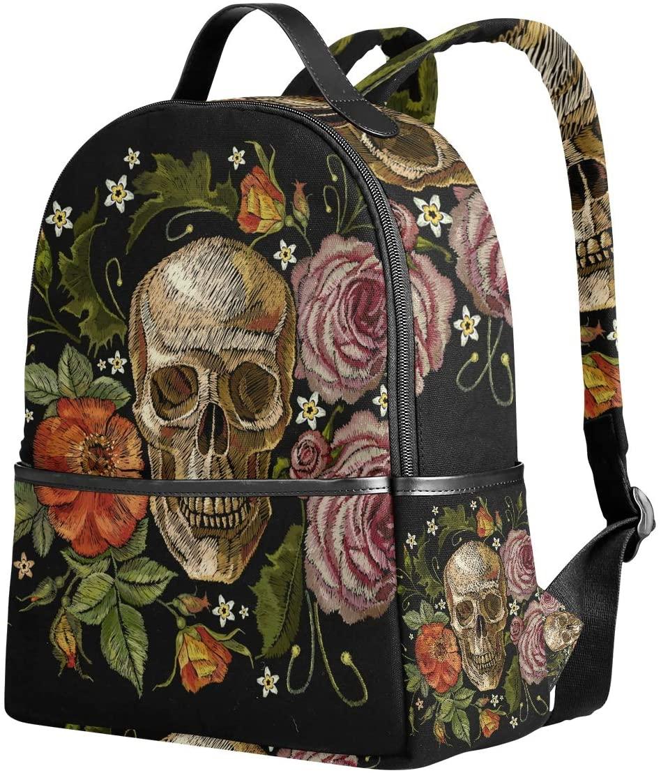 WIHVE School Backpack Embroidery Gothic Skull Red Roses And Pink Peonies Bookbag Shoulder Bag Travel Daypack