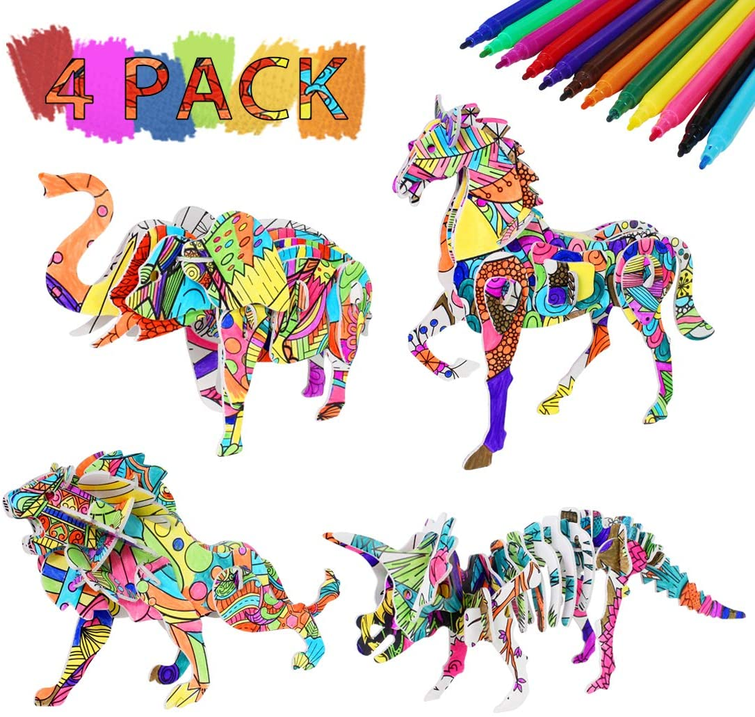 3D Coloring Puzzle for Kids, Arts and Crafts Toy Gift for Girls and Boys, Age Games 7 8 9 10 11 12 Years Old, Animal Painting KIT, Fun Creative Birthday DIY Game for Kids, Adults (4 Pack
